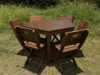 Muebles de madera for Comedor hexagonal